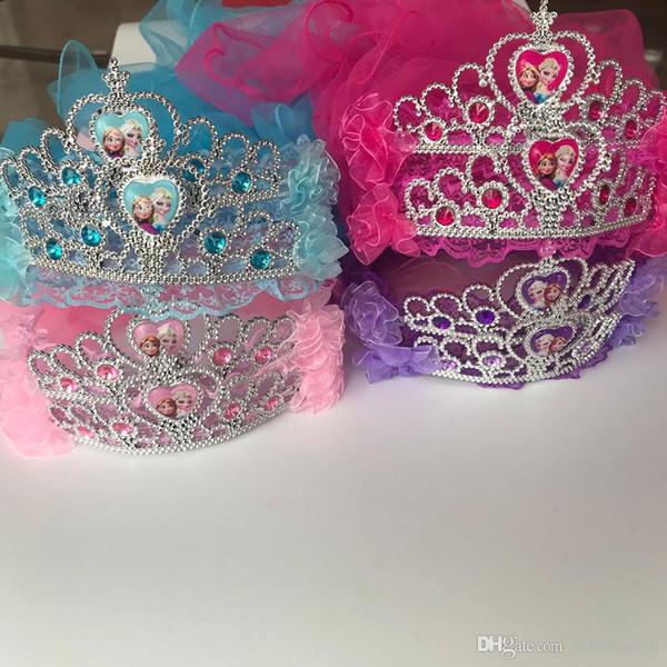 27,5 Zoll Länge gefroren Kinder Krone Gril Prinzessin Kopfschmuck Tiara Haarschmuck Stirnband Kunststoff Stirnband Zauberstab auf Lager