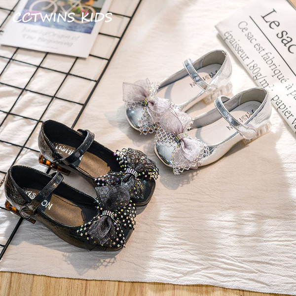 Kids Pump Shoes 2019 Autumn Baby Fashion Shoe Girls Casual Bow Tie Flats Children Soft Rhinestone Black Shoe Mary Jane GH1747