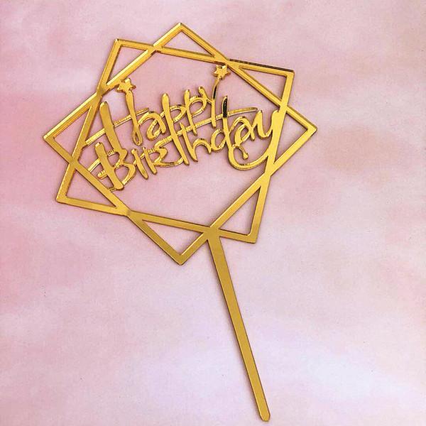 Hot 1pcs Cake Topper Card Amore felice acrilico Cupcake Decorazione Forniture torta di compleanno nastro d'oro da forno per la festa in famiglia
