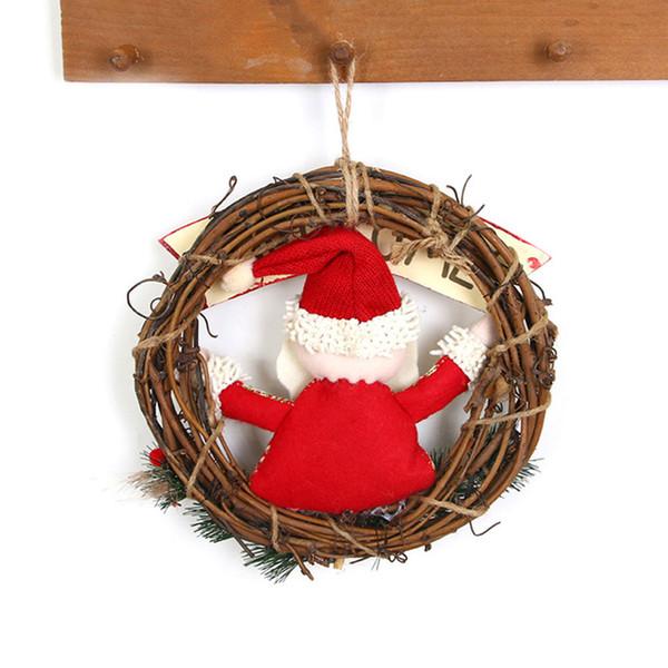 23 CM Corona de Navidad Parte de la Puerta Decoración de la Pared de Ratán Pino Guirnalda Telas para el hogar Santa Claus Muñeco de nieve