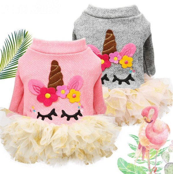 Unicorn Dog Dress Small Dog Wedding Dresses Puppy Tutu Skirt Teddy Pet Dog Clothes Pet Supplies Pink Grey Optional YW2025