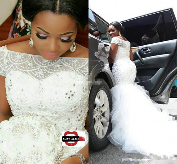 Plus Size Arabic Nigerian Wedding Dresses Mermaid Luxury Beading Pearls Sheer Bateau Neck Short Sleeves Chapel Train Tulle Bridal Gowns