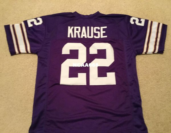 top popular Men Paul Krause #22 Sewn Stitched RETRO JERSEY Full embroidery Jersey Size S-4XL or custom any name or number jersey 2019