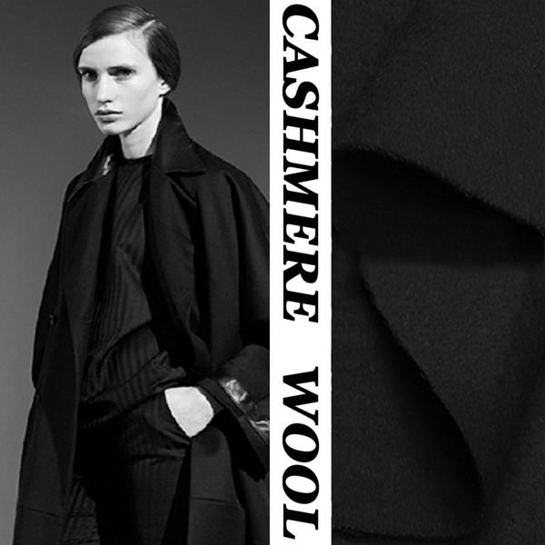 Tela de diseño de material de lana de cachemira de doble cara negra para bricolaje abrigo bufanda ropa de invierno