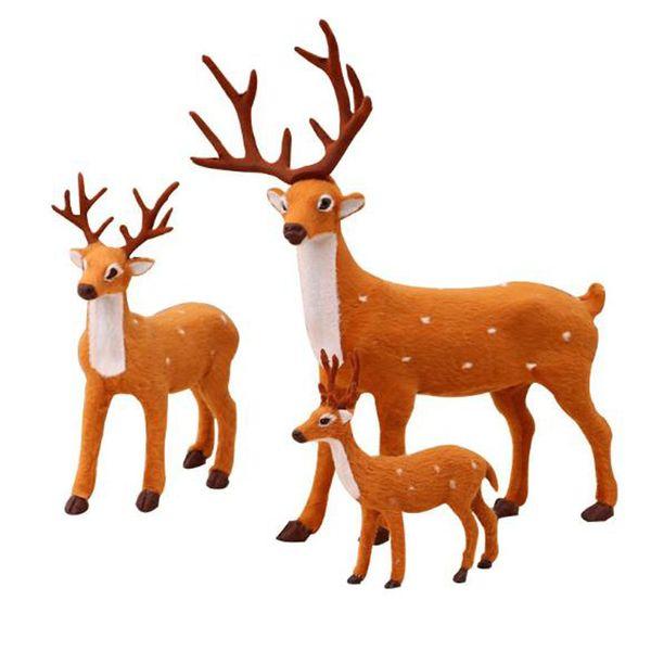 New Mini Simulazione Renna Natale Ornamento Plastica Peluche Cervo Decorazione di Natale Giocattolo per bambini Ornamenti Cervi Decorazione di Natale