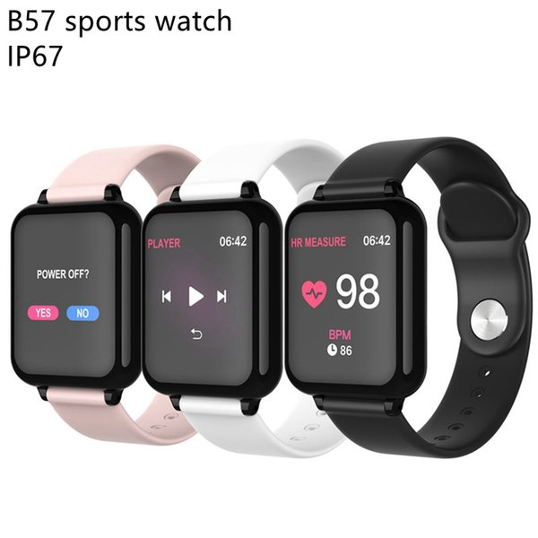 B57 hombres deporte smartwatch IP67 a prueba de agua reloj inteligente monitor de ritmo cardíaco presión arterial modo de deporte múltiple mujeres reloj usable