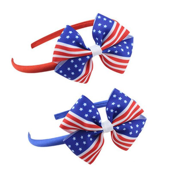 2 Colors American Flag Girls Hair Accessories Bowknot Headband Kids Cute Hair Band Independence Day Plastic Headdress Hoop AN3114