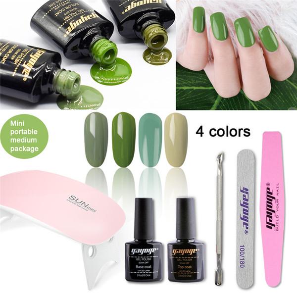 Wholesale Nail Gel Polish Set 10ml 0 3oz Olive Green Series Uv Gel Varnish Manicure For Nail Art Nail Gel Kits Nail Gel Colors From Rundaobeauty
