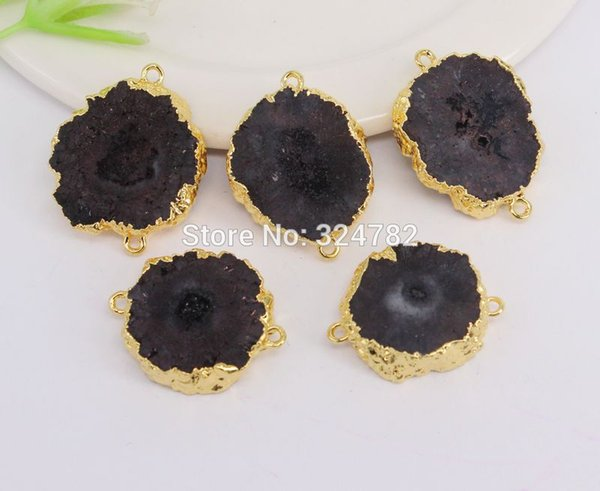 bead in bead 5pcs Gold Metal Natural Stone Slice Sun Flower shape Connectors Beads in Black color,For Making Jewelry