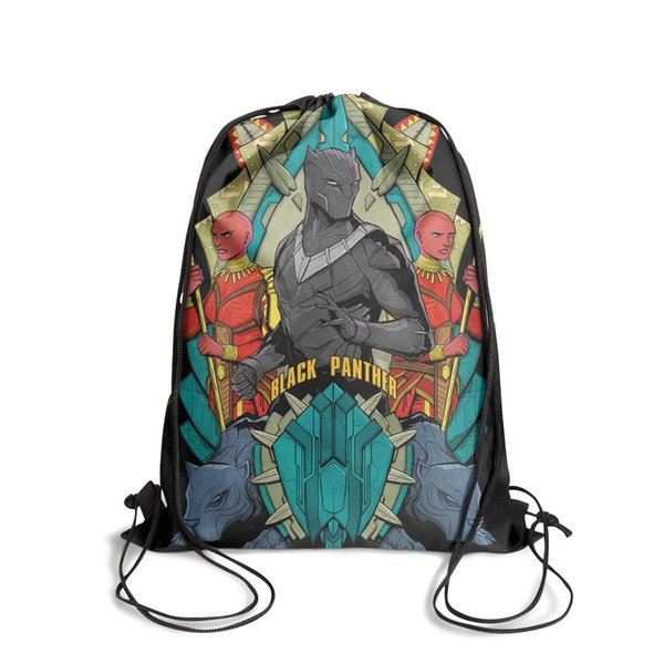 Drawstring Sports Backpack COOL Black Panther Movie Posteroutdoor durable school Travel Fabric Backpack