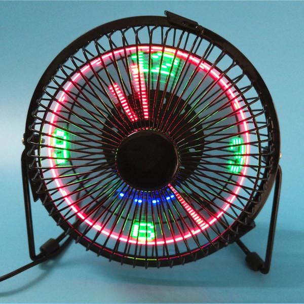 BRELONG küçük masaüstü fan saat ve sıcaklık göstergesi ile 4 inç metal çerçeve USB powered flaş LED ekran elektrikli kişisel soğutma fanı