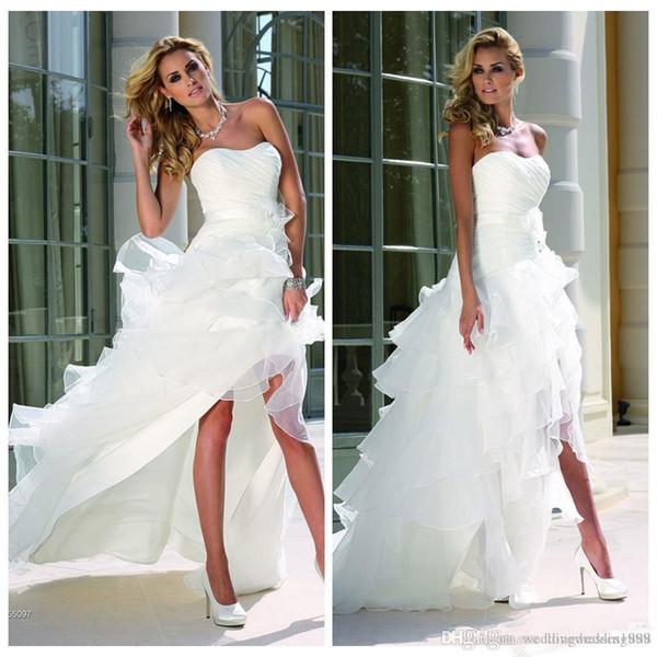 White High Low Beach Wedding Dresses 2018 Curved Neckline Sleeveless Cascading Ruffles Tiered Skirts A Line Bridal Gowns robes de soirée