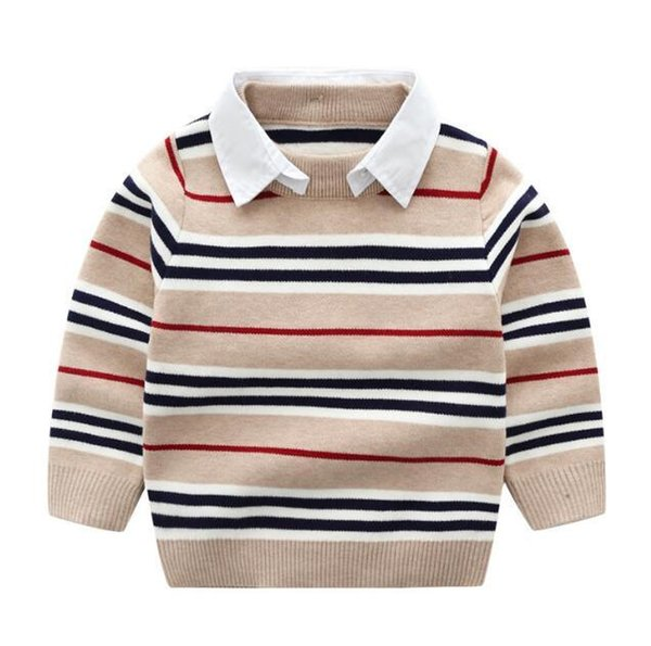 Boys'core-filé Pull produits de mode automne pull en tricot fabricants pull col de chemise amovible pour enfants direc
