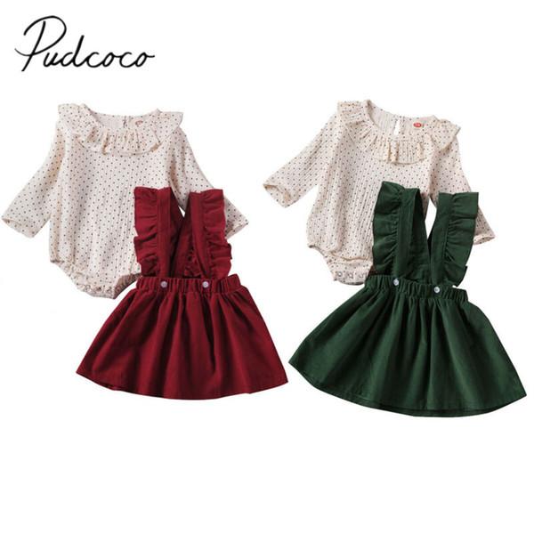 2020 vestiti del bambino di autunno della molla infantile neonate Kid increspature tratteggiate a maniche lunghe pagliaccetto + Strap del vestito vestiti 2Pcs
