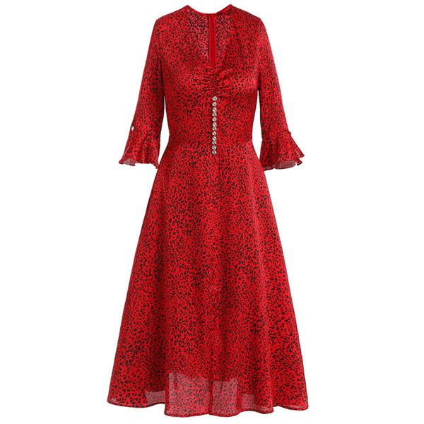 2019 Spring Luxury 3/4 Sleeve V Neck Fashion Leopard Print Chiffon Beaded Midi Dress Casual Dresses M201904114