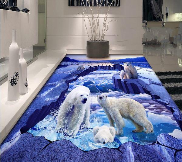 [Autocollant] 3D Ours polaire 1978 Papier peint au sol, papier peint, papier peint, stickers muraux
