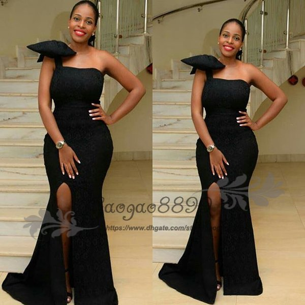 2019 New Fashion black one shoulder split prom dresses with big bow simple floor length long formal evening party gowns wear cheap