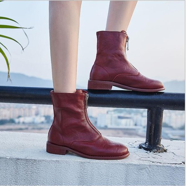 New Shoe Women British Front Zipper Martin Boots with Buckets of Heavy Heels