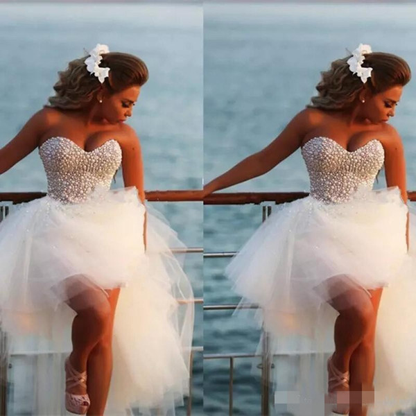 Luxury Beaded Short Wedding Dresses High Low Sweetheart Neckline Tiered Skirt Ruffles Crystal Pearls Beach Wedding Gown Custom Made