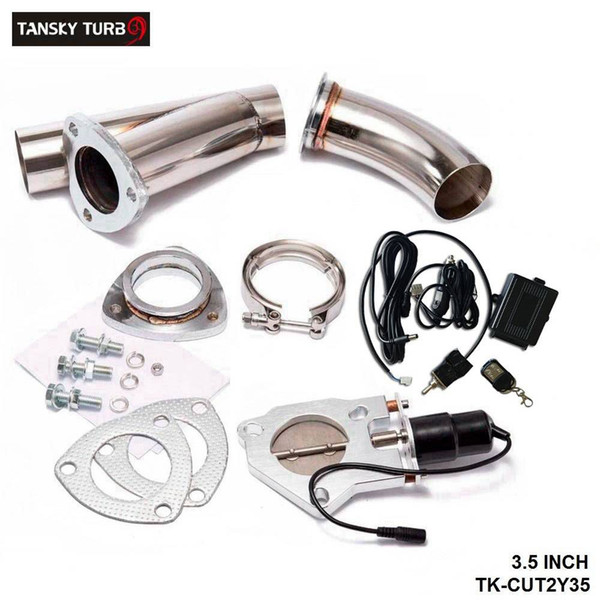 """best selling TANSKY - Electric 3.5"""" Exhaust Catback Cutout W Switch  Remote  Switch+Remote Downpipe Cut out Valve System Kit"""