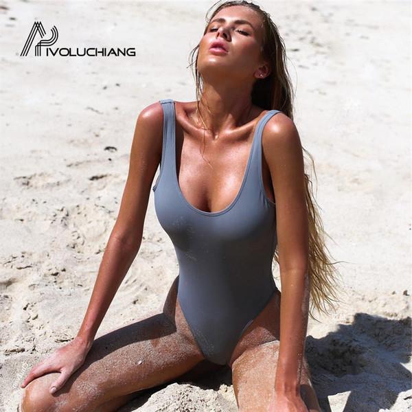 2017 Seksi Yüksek Bel Kesim Tek Parça Mayo Backless Kadınlar Için Mayo Mayo Tanga Mayo Kadın Monokini Bikini