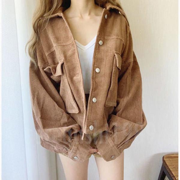 Capa de la chaqueta corta de las mujeres de Corea causal normal de un solo pecho de Harajuku remache chaqueta marrón básico Outwear Harajuku Streetwear gris T191109