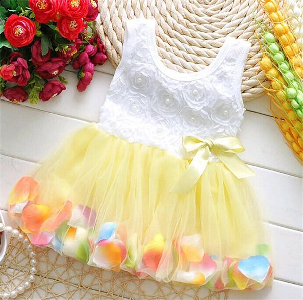 Девочки платье лето цветочный цветок жилет без рукавов девушка сетки тюль пачка пляж юбка дети принцесса свадебное платье 7 Цвет B362