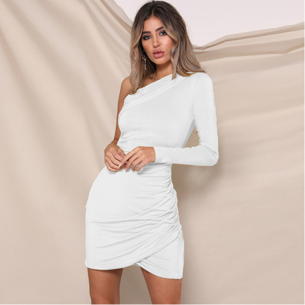 a90347e83e5 Try Everything White Women Summer Dress 2019 Spring Sale One Shoulder Mini  Sexy Bodycon Dress Women For Summer Dreess Ladies Black Women Clothes ...