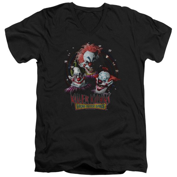Killer Klowns From Outer Space Slim Fit V-Neck T-Shirt Popcorn Black Tee T-Shirt Men Printing Custom Short Sleeve Big Size TV Show Tshirt