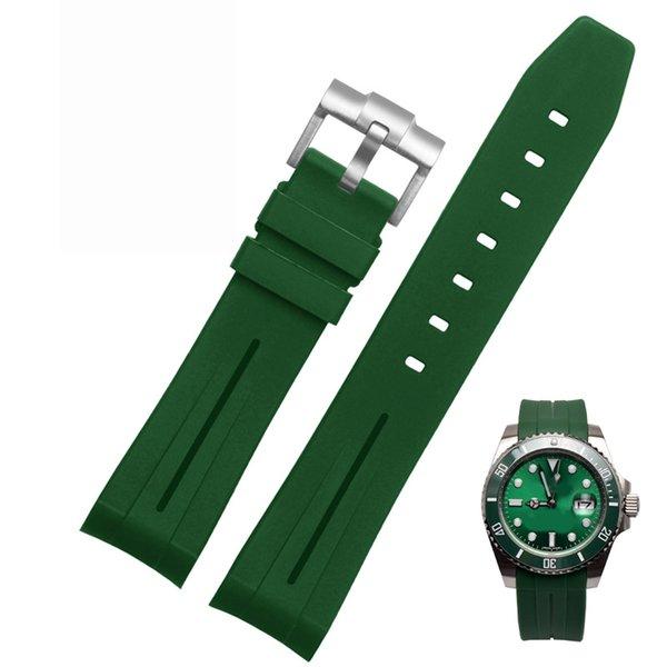 녹색 20mm 실버 버클
