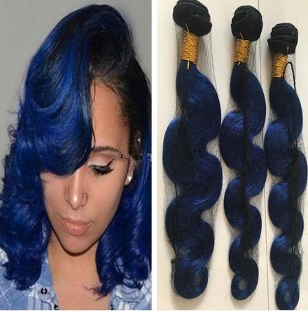 Radici scure 1B Ombre blu tessuto bagnato ed ondulato 9A Raw capelli umani vergini umani Bundles Wave a due tonalità di colore dei capelli estensioni
