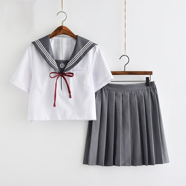 UPHYD New Japanese JK Korean School Uniform With Tie High School Girls Navy Style Sailor Uniforms S-XXL C18122701