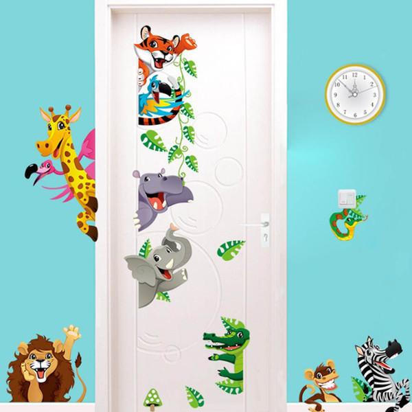 Cartoon Tiger Lion Dinosaur Stickers muraux Porte armoire de commande Stickers muraux Décoration Enfants Garçons Filles Graphics Chambre infantile