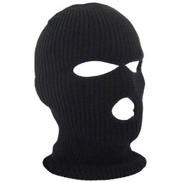 3 Hole Hot Mask Balaclava Black Knit Hat Face Shield Beanie Cap Snow Winter Warm wind-proof and sand-proof Stopper Beanies