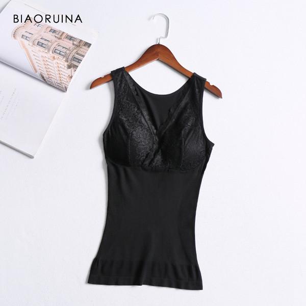 Biaoruina mujeres estiramiento delgado cintura moldeadores cuerpo mujer sexy encaje patchwork íntimos v-cuello de las mujeres empuja hacia arriba la ropa interior acolchada