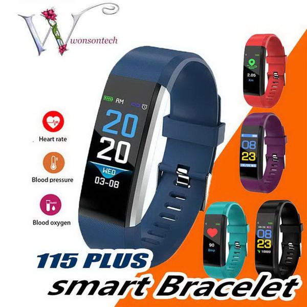 Pantalla LCD de 5 colores ID115 Plus Pulsera inteligente Rastreador de ejercicios Podómetro Reloj Banda Pulsera de frecuencia cardíaca Monitor de presión arterial Pulsera inteligente