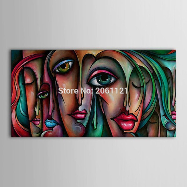 Hand Painted fashion Canvas Art cartoon girls face Oil Painting Pictures Modern Home Decoration Unique Gift Cuadros Decoracion
