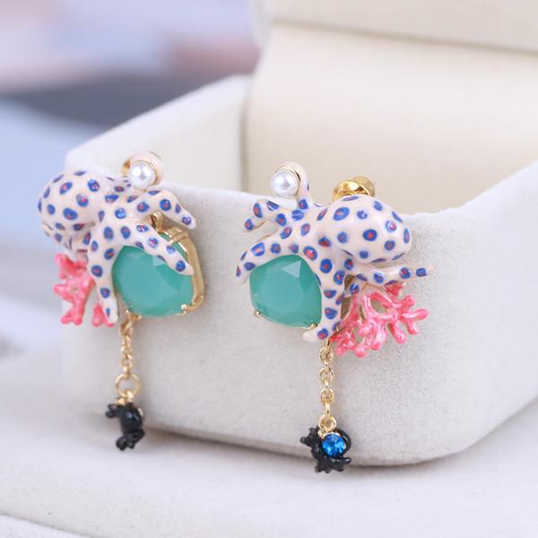 2019 luxe émail émail boucles d'oreilles pour les femmes mode extraterrestre créature coral balancent lustre boucles d'oreilles bijoux de mariage