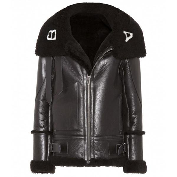 18FW BLCG логотип PU кожаная куртка Мужчины Женщины Зима Длинные пальто Плюс Velvet мотоцикла куртка черного моды HFLSPY000