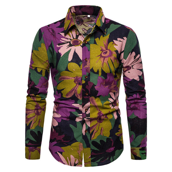 Flowers Print Male Shirt Fashion Linen Clothing Vintage Floral Shirt Long Sleeve Summer Wear Tops Loose Fit 5XL 2019 New Arrival