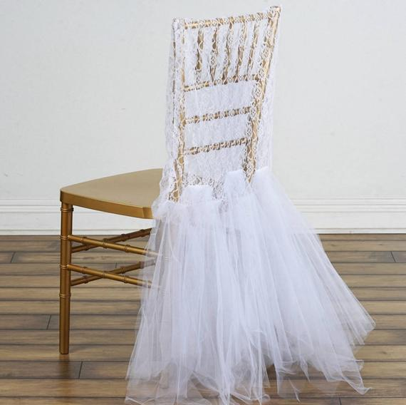 2019 Lace Tulle Wedding Chair Sashes Romantic Beautiful Chair Covers Cheap Custom Made Wedding Supplies C03