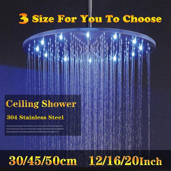 Dia 300/400 / 500mm Büyük Duş Başlığı 3 Renk Değişimi Tavan Yağmur Başlığı SUS304 Su Gücü Duş Başlıkları LED Işık Duşları
