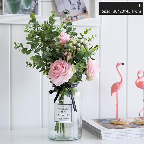 2019 Fiori artificiali per vasi da sposa per fiori Home Decor Bouquet di fiori artificiali con vaso Decorazione tavola di nozze