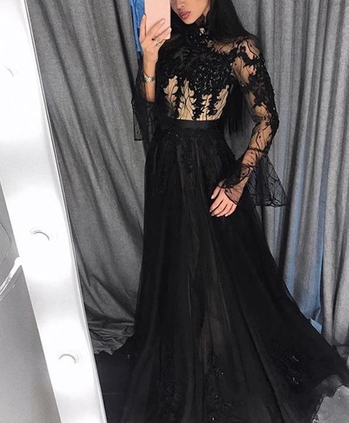 Black Arabic Evening Dresses 2020 Long Sleeve High Neck Sweep Train Appliques Beads Long Formal Prom Party Gowns Special Occasion Dress