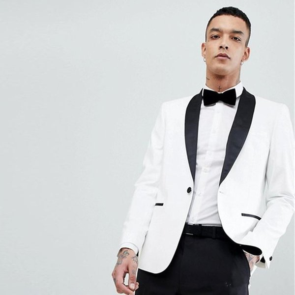 New White Wedding Men Suits Slim Fit Groom Wear Tuxedos with Shawl Lapel 2 Pieces (Jacket+Pants) Bridegroom Set Best Man Blazer 58
