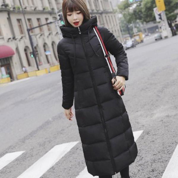 Longue capuche Thicken Slim chaud vers le bas Manteaux Femmes Casual poches solides Zipper hiver Coton Outwear Femme Taille Plus Manteau Vestes