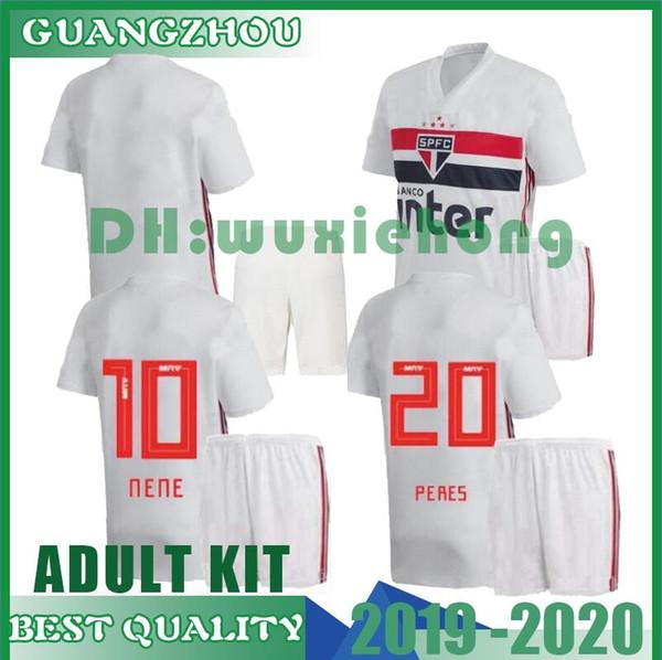 ADULT KIT 19 20 Soccer Jersey Sao Paulo Souza Helinho Peres Hernanes 2019 Camisa de futebol Sao Paulo Football Shirts Kits Unifrom Maillot