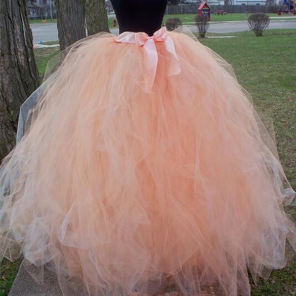 Piso Handmadefashion longitud de la boda de tul mullidas muchachas de la falda del tutú de danza para adultos falda del acoplamiento de la enagua Faldas Saias Jupe