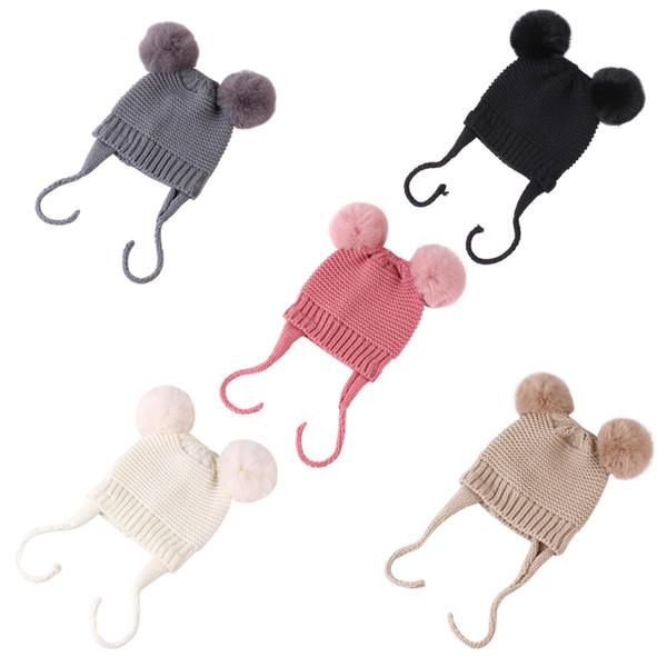 Tricotée Chapeau d'hiver de bébé avec les oreilles Cartoon Lacets Enfants Enfants Bonnet bébé Bonnet pour les enfants 5 couleurs CLE434