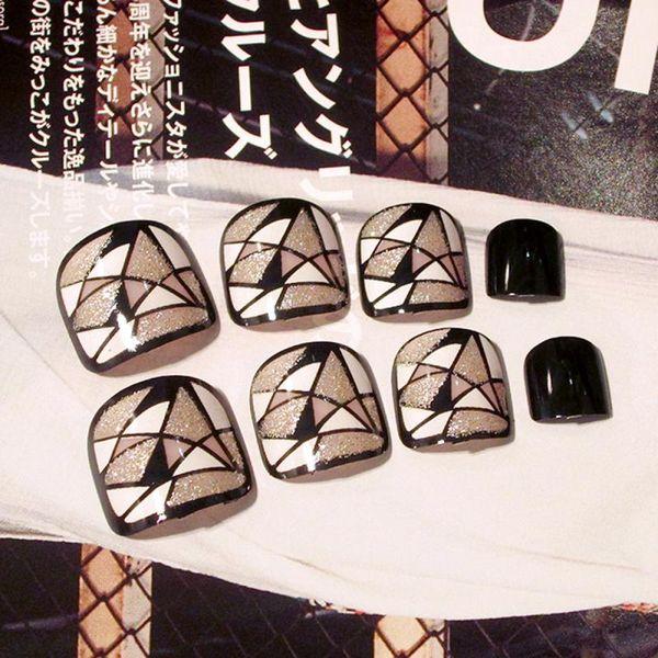 24Pcs / set Adatti finte unghie piedi Breve Piazza Toenail Finito Nail Art False unghie dei piedi variopinto misto Patch design Press On